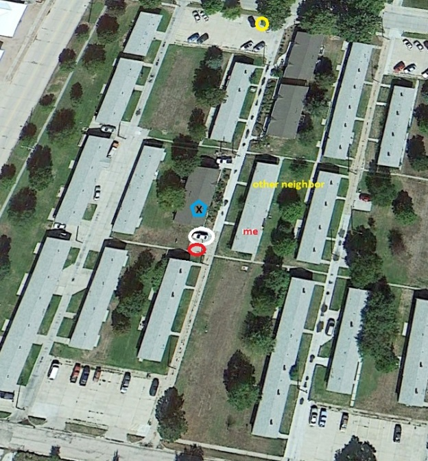 Maybe this makes it clearer: That's my car circled in white in this old Google Earth shot. The red circle is where I have to park now. My duplex (
