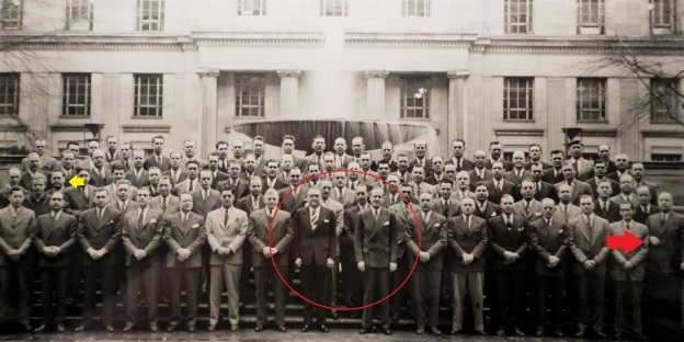 Dad in yellow circle; J. Edgar and Clyde in large red circle; and the fellow who didn't get the memo, next to the red arrow...