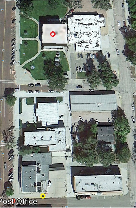 Yellow circle at bottom is mail drop box...; red circle is on the courthouse.