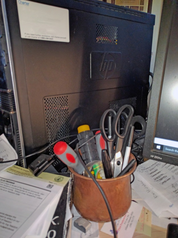 My messy desk yields a kind of sweet still life.